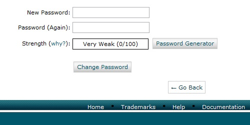 Fill in the required information and click change password